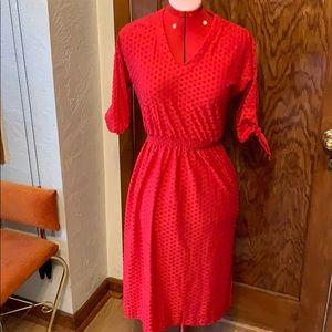 Vintage 1980s hot pink secretary midi dress